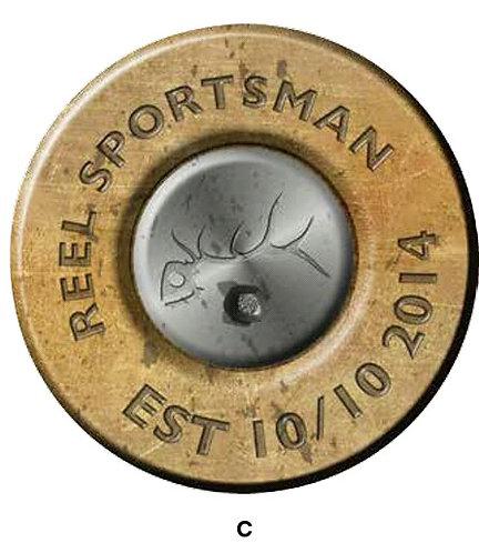 Reel Sportsman Fuel Door Brass Decal