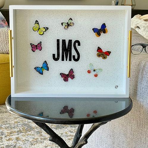 Monogram Tray Butterfly-custom order-please allow 3 weeks