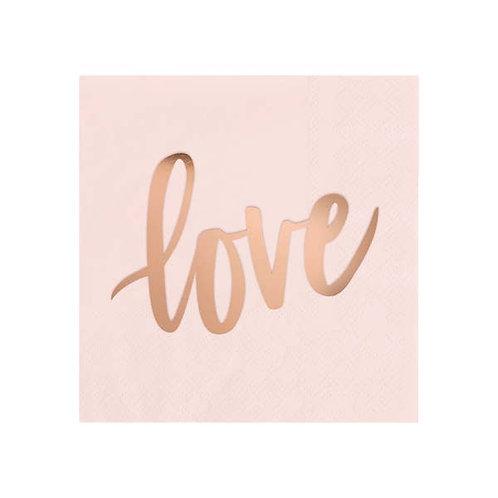 Love Cocktail Napkins- Blush & Rose Gold