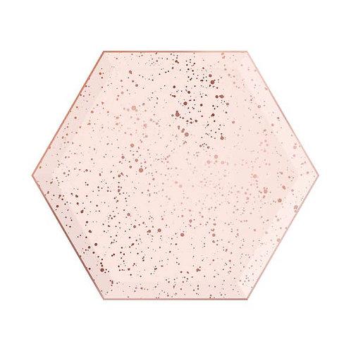 Hexagon Dessert Plates- Splatter -Blush & Rose Gold
