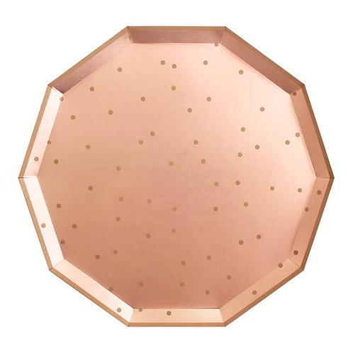 Decagon Dinner Plates - Confetti - Rose Gold
