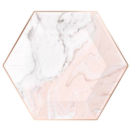 Hexagon Dinner Plates - Blush Marble & Rose Gold