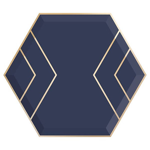 Hexagon Dinner Plates - Navy & Gold