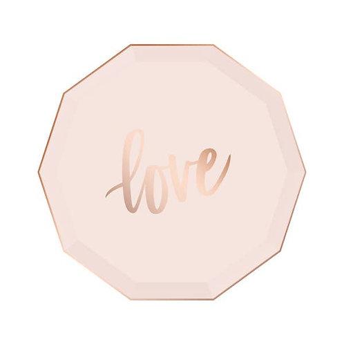 Decagon Dinner Plates - Love - Blush & Rose Gold