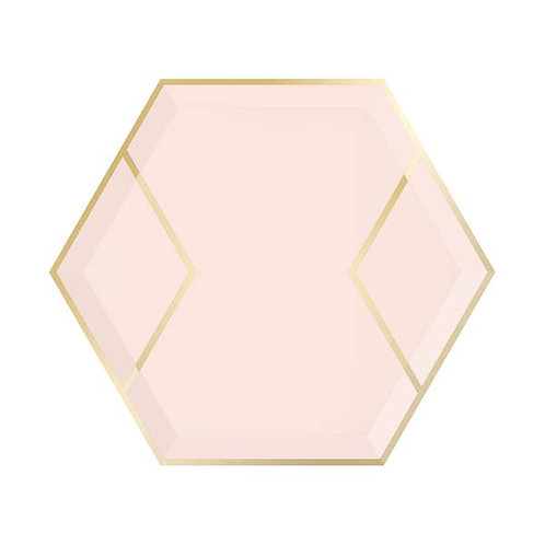 Hexagon Dessert Plates - Blush & Gold