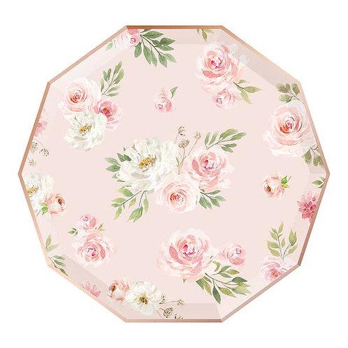 Decagon Dinner Plates - Floral - Blush & Rose Gold