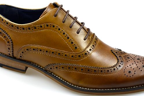 Men's Oxford leather tan brogue shoe