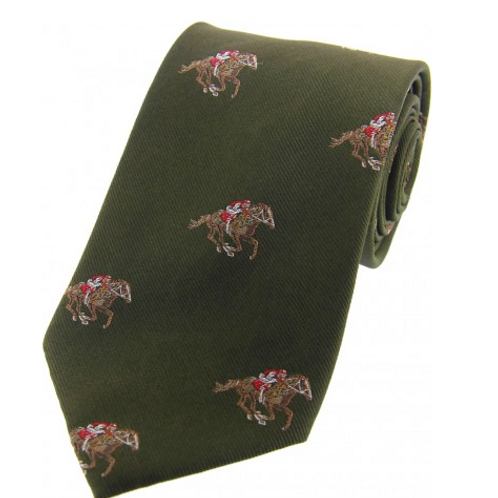 Country Master Horse Racing Green Silk Tie