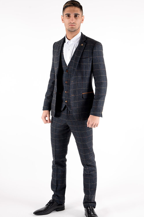 Navy Tweed Suit Eton