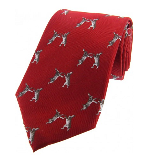 Country Master Fighting Hares Red Silk Tie