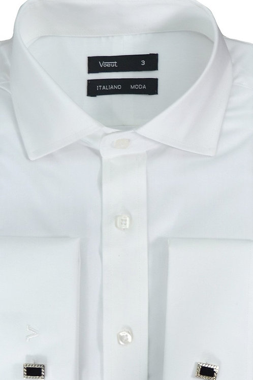 White Long Sleeve Shirt Double Cuff Rossi
