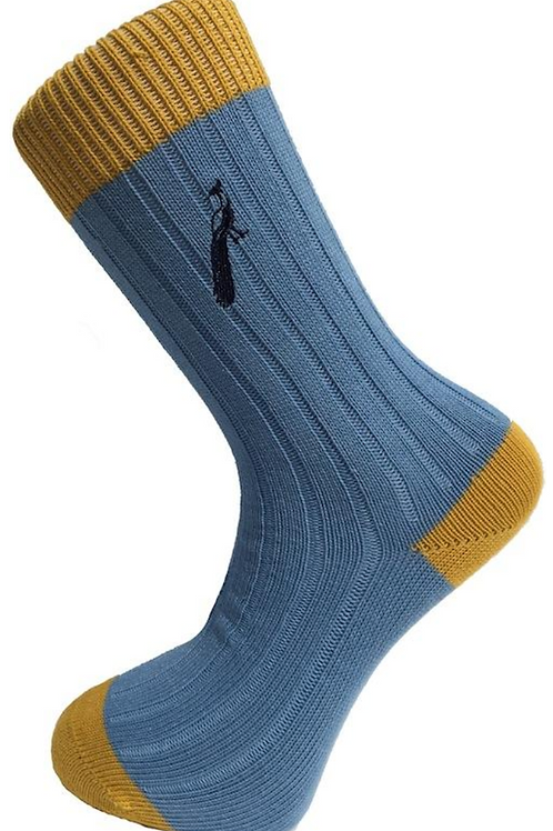 Country Socks - Light Blue/Yellow