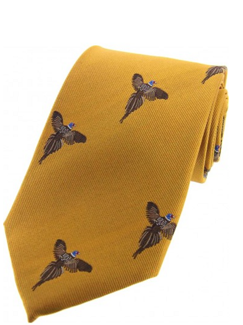 Country Master Pheasants On Gold Country Silk Tie