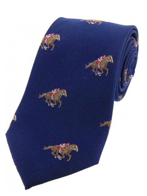 Country Master Horse Racing Blue Silk Tie