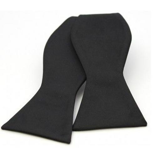 Satin Silk Black Luxury Self Tied Bow Tie