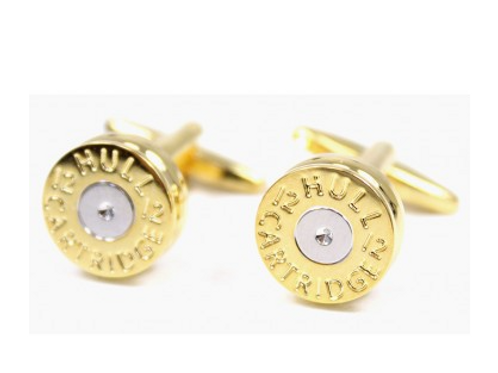 Cufflinks Shot Gun Cartridge Gold