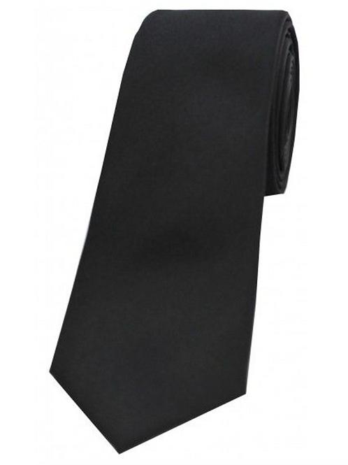 Black Satin Silk Thin Tie