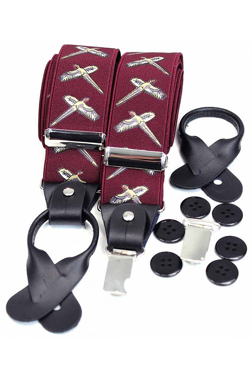 Flying Pheasants Wine 35mm Leather End Braces