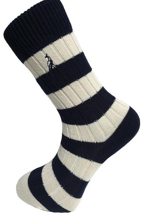 Country Socks - Navy/White