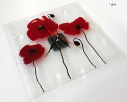 часы с цветами из стекла