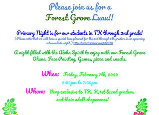 Forest Grove Luau February 7th 6-7:30pm