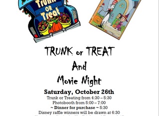 Trunk or Treat Saturday Oct 26th!