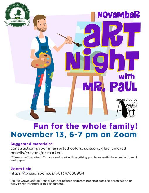 Art Night with Mr. Paul!