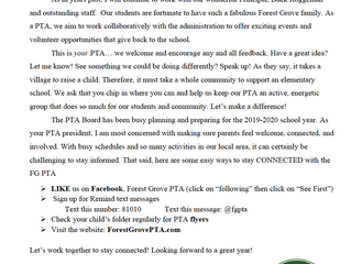 Welcome letter from our PTA President