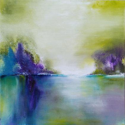 peinture abstraite paysage songe gros plan