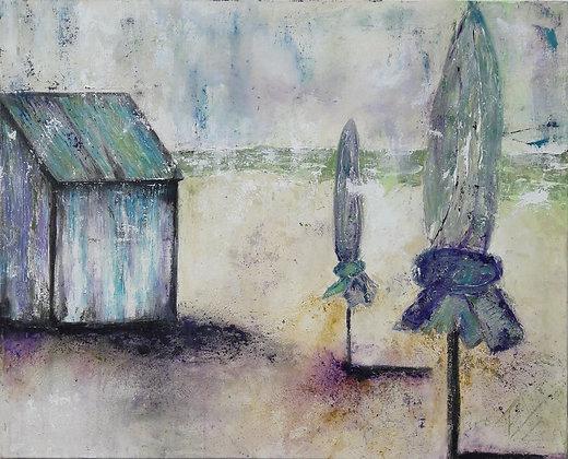 peinture abstraite plage sérénité gros plan
