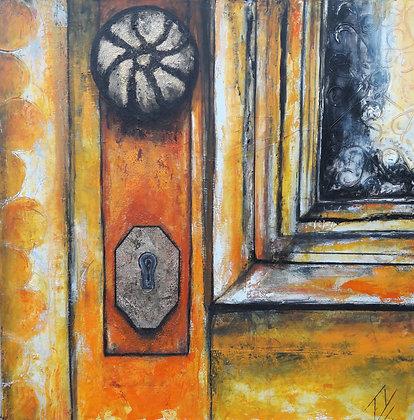 Peinture abstraite porte orange gros plan