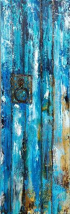 Peinture abstraite porte bleue gros plan