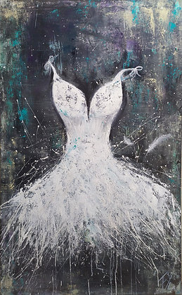 Peinture abstraite robe Idyllique gros plan