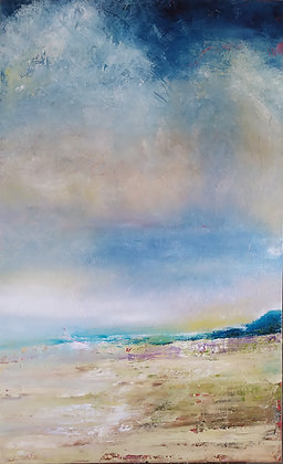 Peinture abstraite Normandy bleu gros plan