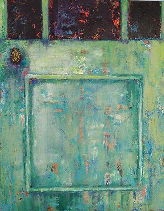 Peinture abstraite porte gros plan