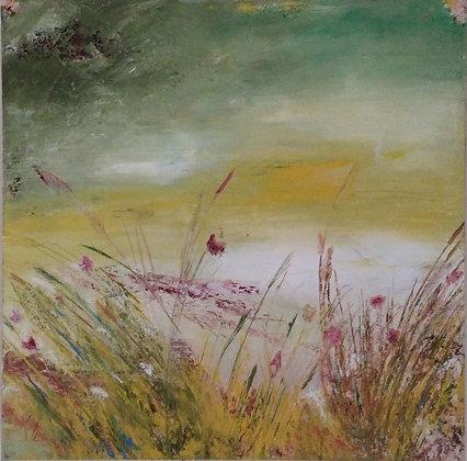 Peinture abstraite fleuri gros plan