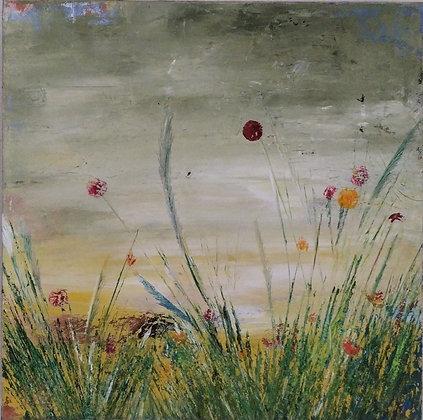 Peinture abstraite fleurs des champs gros plan