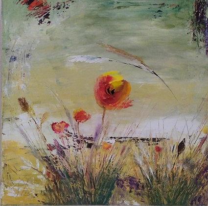Peinture abstraite fleurs gros plan
