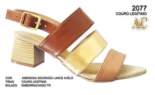2077 sandália feminina em couro