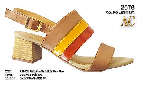 2078 sandália feminina em couro
