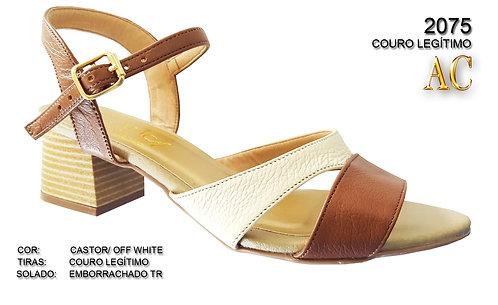 2075 sandália feminina em couro