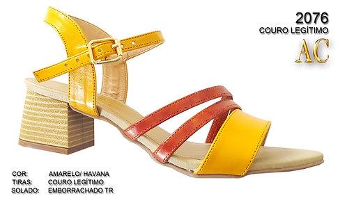 2076 sandália feminina em couro