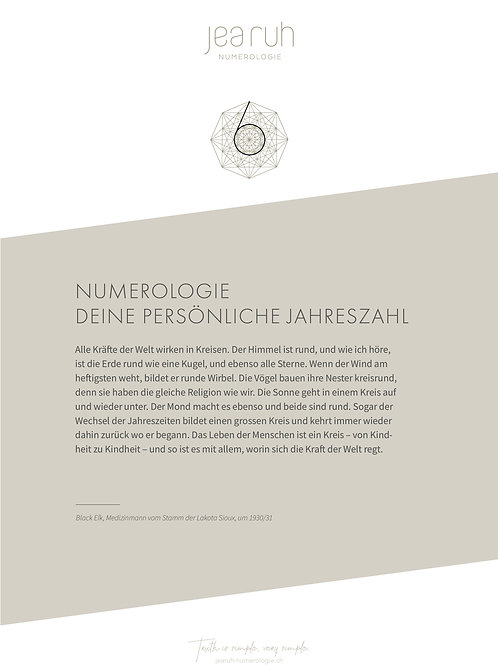 Persönliche Jahreszahl 6 (Print Version)