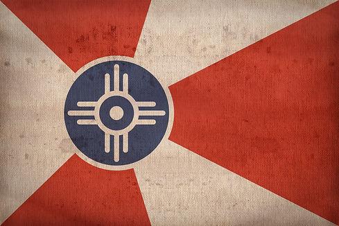 Wichita ,Kansas flag on fabric texture,r