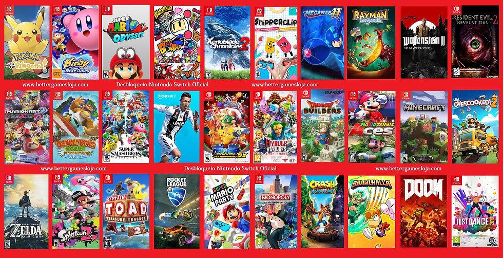 Desbloqueio Nintendo Switch + 30 Jogos + Netflix 12 meses + N.Online 2 anos