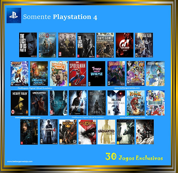 Desbloq. Playstation 4 + 30 Jogos Exclusivos
