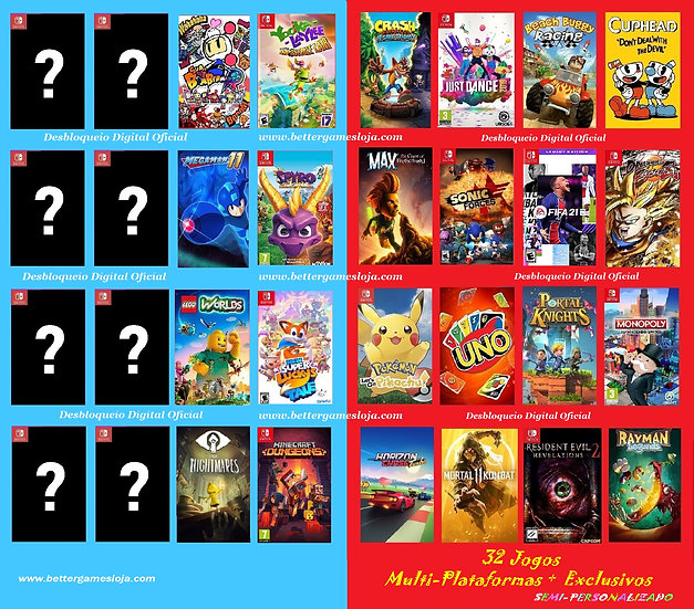 Desb. Nintendo Switch + 32 Jogos Semi-Personalizado + Netflix 3 meses