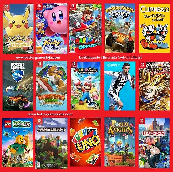 Desbloqueio Nintendo Switch + 15 Jogos