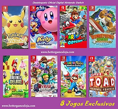 Desbloq. Nintendo Switch + 8 Jogos Exclusivos