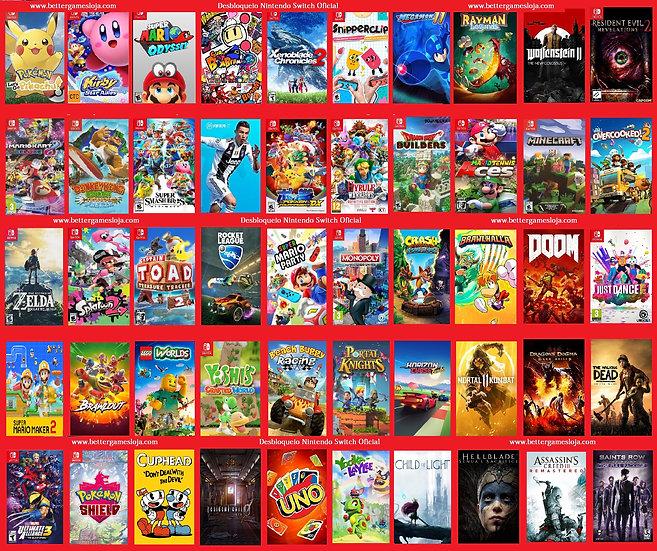 Desbloqueio Nintendo Switch + 50 Jogos + Netflix 3 meses